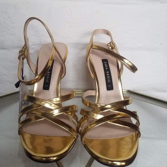 0fd549c3609c NWT ZARA GOLD LAMINATED STRAPPY HIGH HEEL SANDALS